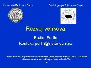Univerzita Karlova v Praze esk geografick spolenost Rozvoj