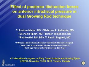 Effect of posterior distraction forces on anterior intradiscal