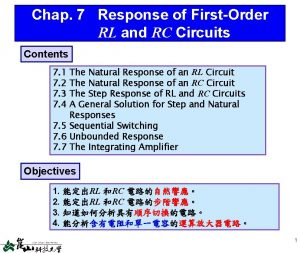 Chap 7 Response of FirstOrder RL and RC