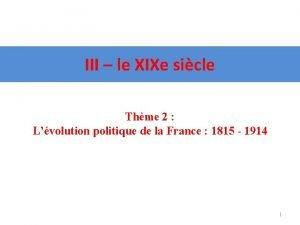 III le XIXe sicle Thme 2 Lvolution politique