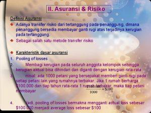 II Asuransi Risiko Definisi Asuransi Adanya transfer risiko