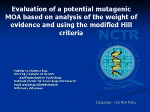 Evaluation of a potential mutagenic MOA based on