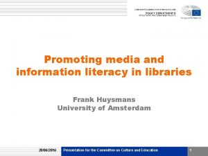 Promoting media and information literacy in libraries Frank