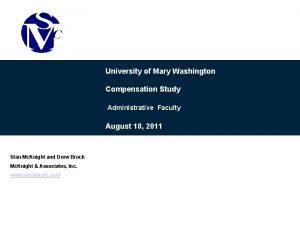 University of Mary Washington Compensation Study Administrative Faculty