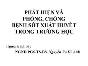 PHT HIN V PHNG CHNG BNH ST XUT
