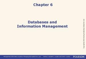Databases and Information Management Information Systems Managing the