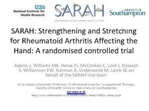 SARAH Strengthening and Stretching for Rheumatoid Arthritis Affecting