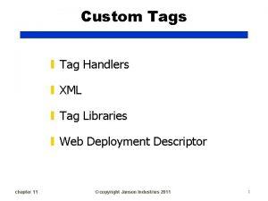 Custom Tags Tag Handlers XML Tag Libraries Web
