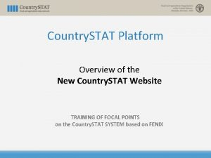 Country STAT Platform Overview of the New Country