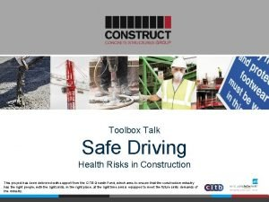 Toolbox Talk Safe Driving Health Risks in Construction