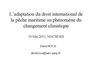 Ladaptation du droit international de la pche maritime