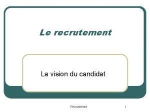 Le recrutement La vision du candidat Recrutement 1