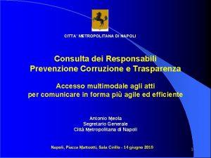CITTA METROPOLITANA DI NAPOLI Consulta dei Responsabili Prevenzione