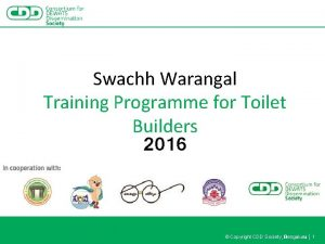 Swachh Warangal Training Programme for Toilet Builders 2016