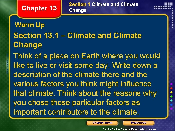 Chapter 13 Section 1 Climate and Climate Change