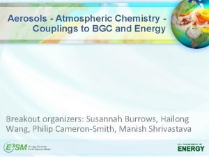 Aerosols Atmospheric Chemistry Couplings to BGC and Energy