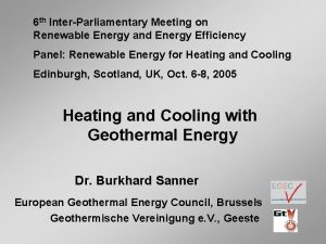 6 th InterParliamentary Meeting on Renewable Energy and