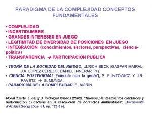 PARADIGMA DE LA COMPLEJIDAD CONCEPTOS FUNDAMENTALES COMPLEJIDAD INCERTIDUMBRE