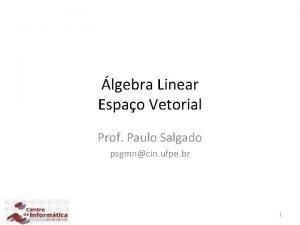lgebra Linear Espao Vetorial Prof Paulo Salgado psgmncin