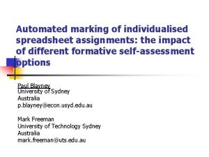 Automated marking of individualised spreadsheet assignments the impact