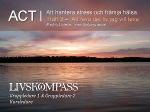ACT Att hantera stress och frmja hlsa Trff