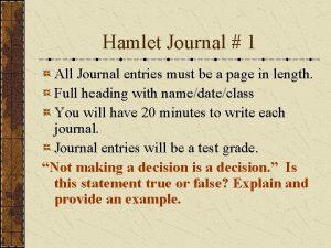 Hamlet Journal 1 All Journal entries must be