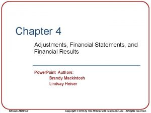 Chapter 4 Adjustments Financial Statements and Financial Results