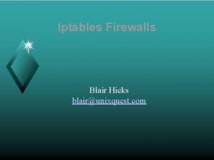 Iptables Firewalls Blair Hicks blairunixquest com Iptables Firewalls