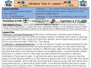 Athletics Year 6 Lesson 1 Learning Objectives Challenge