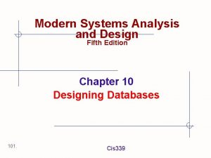 Modern Systems Analysis and Design Fifth Edition Chapter