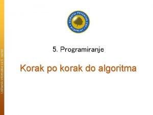 Udbenik informatike za 5 razred 5 Programiranje Korak
