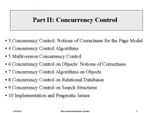 Part II Concurrency Control 3 Concurrency Control Notions