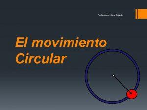 Profesor Jos Luis Gajardo El movimiento Circular Profesor