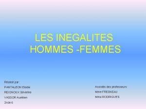 LES INEGALITES HOMMES FEMMES Ralis par PANTALEON Elodie