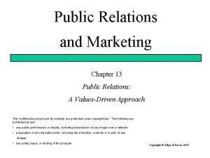 Public Relations and Marketing Chapter 13 Public Relations
