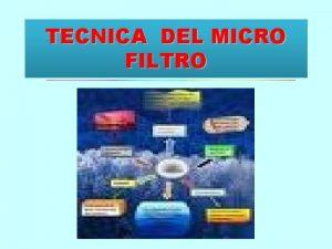 TECNICA DEL MICRO FILTRO MACRO FILTRO Es una