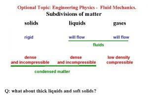 Optional Topic Engineering Physics Fluid Mechanics Subdivisions of