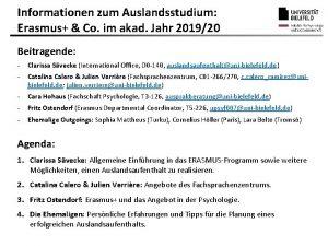 Informationen zum Auslandsstudium Erasmus Co im akad Jahr
