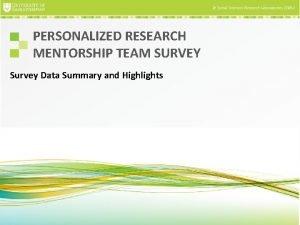 PERSONALIZED RESEARCH MENTORSHIP TEAM SURVEY Survey Data Summary