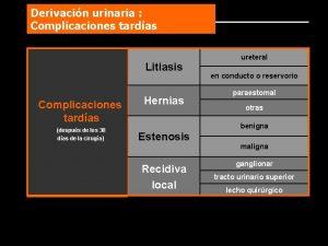 Derivacin urinaria Complicaciones tardas Litiasis Complicaciones tardas despus