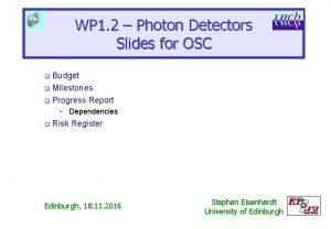 WP 1 2 Photon Detectors Slides for OSC