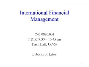 International Financial Management C 45 0030 001 T