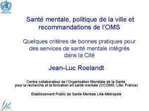 Sant mentale politique de la ville et recommandations