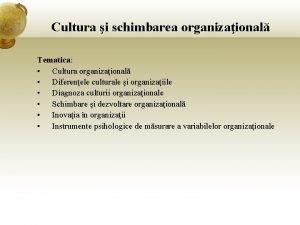 Cultura i schimbarea organizaional Tematica Cultura organizaional Diferenele