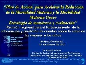 CLAP SMR Organizacin Panamericana de la Salud Organizacin