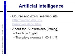 Patrick Blackburn Johan Bos Kristina Striegnitz Artificial Intelligence