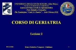 UNIVERSIT DEGLI STUDI DI BARI Aldo Moro FACOLT