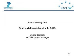 Annual Meeting 2013 Status deliverables due in 2013