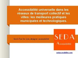 Accessibilit universelle dans les rseaux de transport collectif
