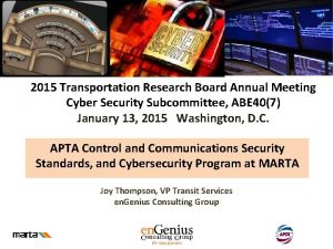 2015 Transportation Research Board Annual Meeting Cyber Security
